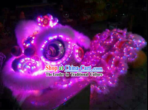 Battery Powered Luminous LED Lights Lion Dance Costumes Complete Set