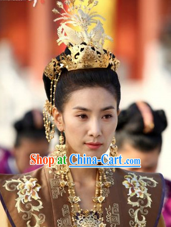 Ancient Korean Princess Hair Accessories, Earrings and Necklace Complete Set