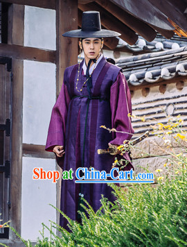 Ancient Korean Imperial Official Costumes and Black Hat Complete Set