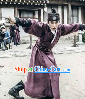 Ancient Korean Knight Costumes and Headwear Complete Set for Boys