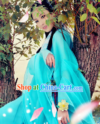 Chinese Sky Blue Fairy Clothing Complete Set