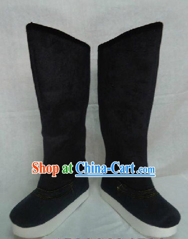 Traditional Chinese Black Boots for Kids