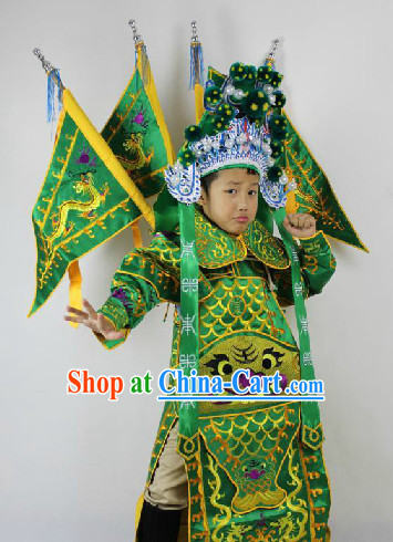Traditional Chinese Beijing Opera General Costumes and Hat Complete Set for Primary School Children