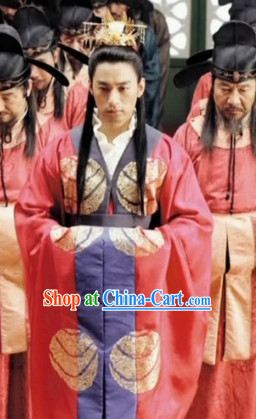 Ancient Korean Palace Imperial Emperor Costumes and Coronet Complete Set