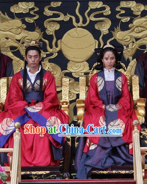 Ancient Korean Palace Imperial Emperor and Empress Costumes and Hair Accessories 2 Complete Sets