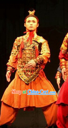 Ancient Chinese Qin Dynasty Period Terra Cotta Warrior Armor Costumes and Coronet Complete Set