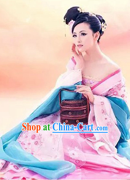 Ancient Chinese Pink Beauty Costumes and Headwear Complete Set