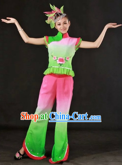 Han Ethnic Traditional Outfits and Headwear Complete Set for Girls