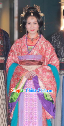 Ancient Chinese Chunqiu Time Imperial Empress Costumes and Headwear Complete Set