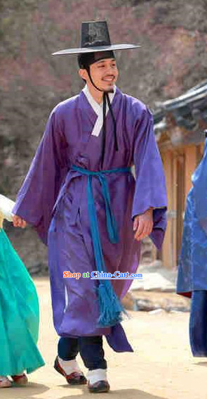 Ancient Korean Seonbi Costumes and Hat for Men