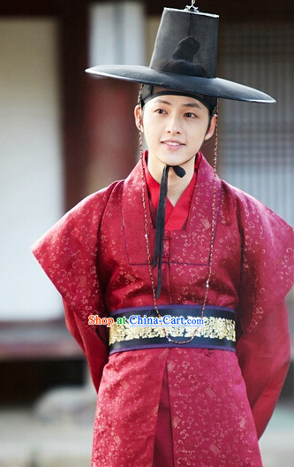 Ancient Korean Red Clothes and Black Hat Complete Set
