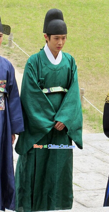 Ancient Korean Official Green Costumes and Hat Complete Set