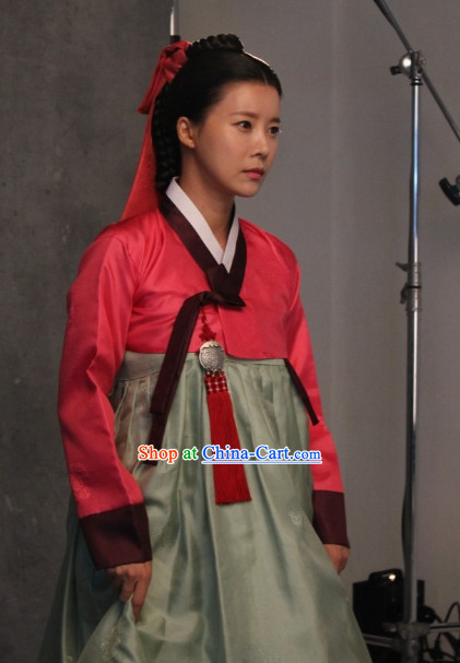 Korean Traditional Hanbok Dresses and Headwear Complete Set for Women
