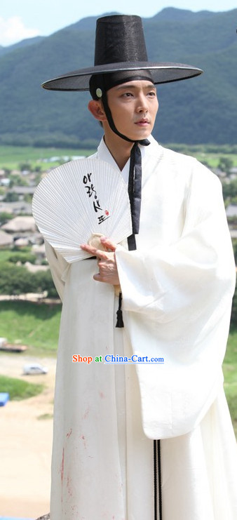 Korean Traditional White Dresses and Hat for Men
