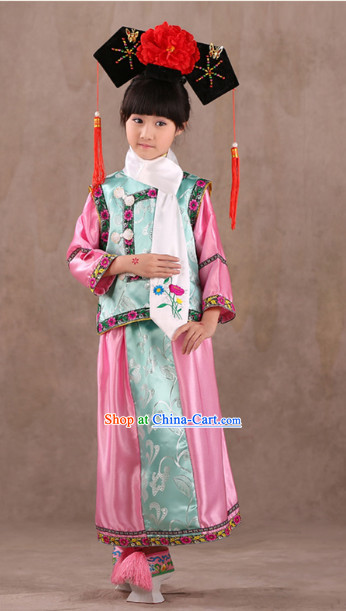 Qing Dynasty Princess Clothes and Headwear for Children