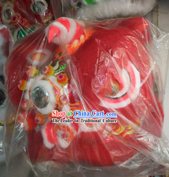 Red Wool Traditional Chinese Fut San Lion Dance Costumes Complete Set