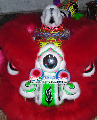 Supreme Long Red Wool Hok San Lion Dance Costumes Complete Set