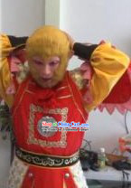Traditional Chinese Monkey King Wig and Mask