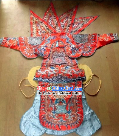 Traditional Chinese Peking Opera Da Kao Armor Costumes and Helmet for Children