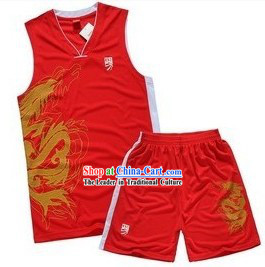 Traditional Red Dragon Dancer T-shirt Set