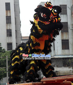Black and Gold Competition and Parade Lion Dance Costume Complete Set