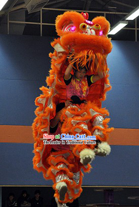 LED Eyes Orange and Silver Competition and Display Lion Dance Head and Costume Complete Set