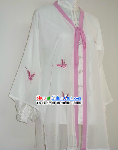 Traditional Chinese Competition and Practice Blouse Pants and Embroidered Butterfly Veil