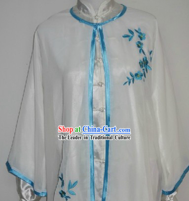Traditional Chinese Competition and Practice Blouse Pants and Embroidered Flower Veil