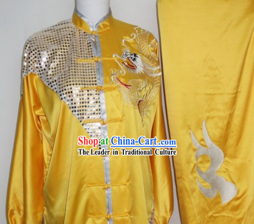Top Silk Broadcloth Dragon Dancer Kung Fu Practice Uniform Complete Set