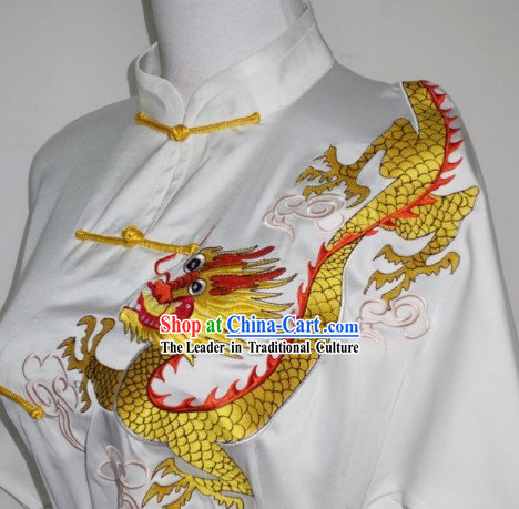 White Silk Broadcloth Embroidered Gold Dragon Kung Fu Uniform Complete Set