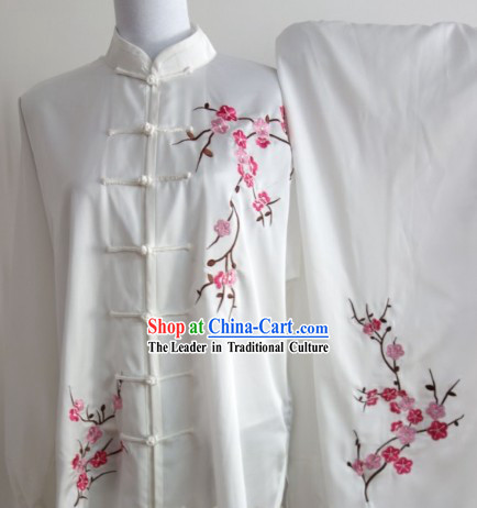 Plum Blossom Embroidery Long Sleeves Wu Shu Uniform Complete Set