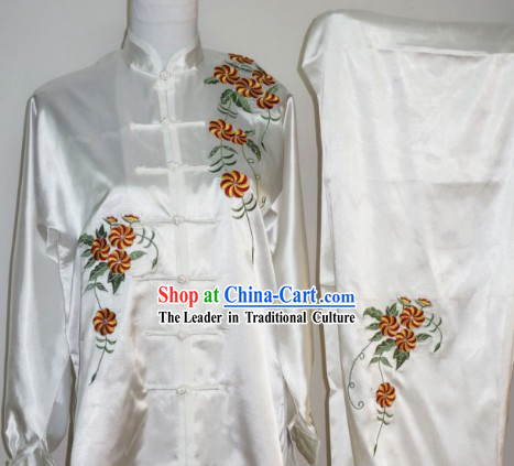 Silk Flower Embroidery Kung Fu Clothes Complete Set for Women