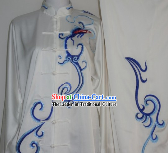 Top Chinese Traditional Blue Dragon Silk Kung Fu Supplies for Adults