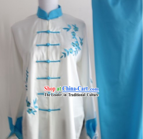 Blue Flower Embroidery Long Sleeves Kung Fu Uniform Complete Set