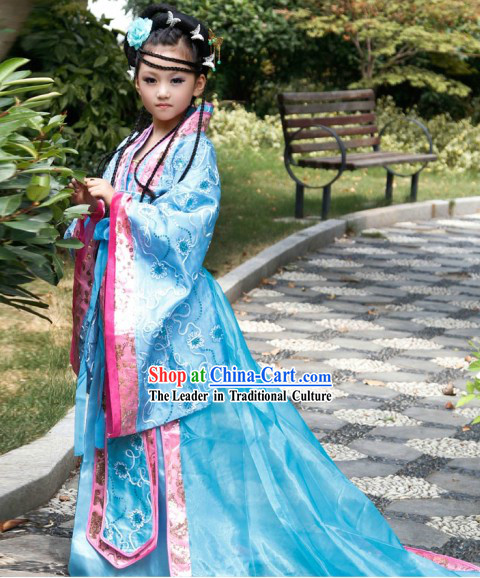 Blue Ancient Chinese Princess Costumes and Hair Accessories Complete Set for Children
