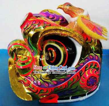 Supreme Bird Horn Lion Dance Costumes Complete Set with Gold Long Wool