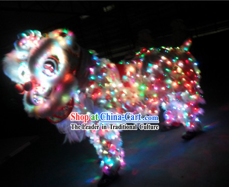 Rainbow Color LED Lights Luminous Lion Dance Costumes Complete Set