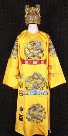 Traditional Chinese Imperial Emperor Crown and Clothing Complete Set for Men