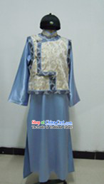 Qing Dynasty Rich Family Boy Costume and Hat Complete Set for Men