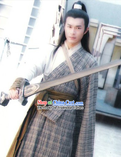 TV Drama Character Yang Guo Costumes Robe Complete Set for Men