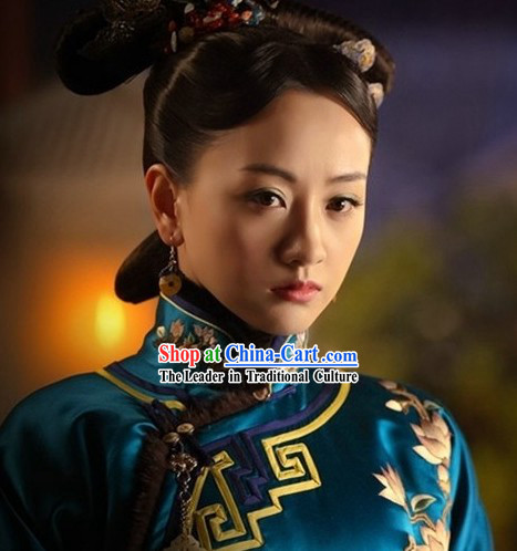 Ancient Chinese Blue Princess Clothing and Hair Accessories Complete Set for Women
