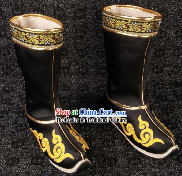 Ancient Chinese Black Handmade Long Boots