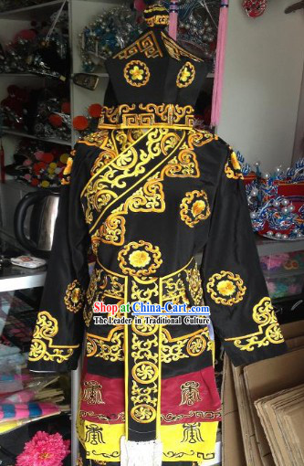 Ancient Chinese Embroidered Opera Costumes and Hat for Men