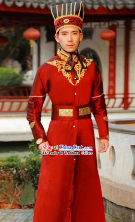 Ancient Chinese General Outfits and Hat Complete Set