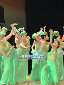 Jasmine Flower Competition Dance Costumes and Headwear Complete Set
