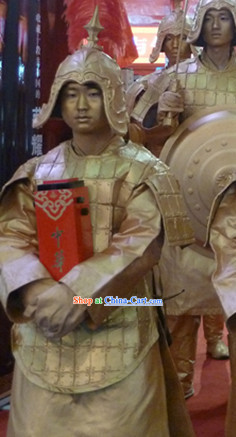 Action Art Living Sculpture Chinese Qin Dynasty Period Terracotta Terra Cotta Props Costumes Complete Set for Men