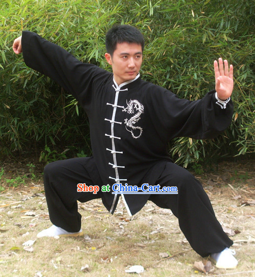 Morning Practice Black Kung Fu Uniform with Silver Dragon