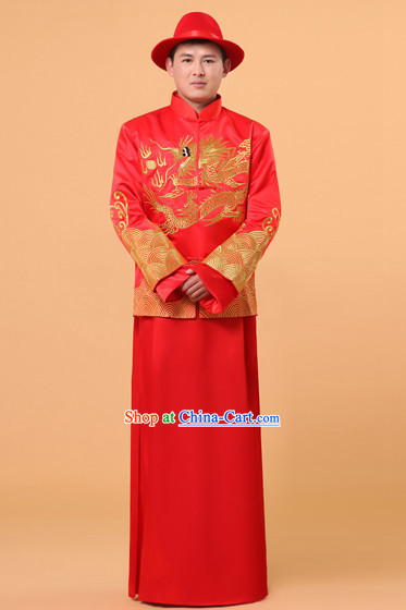 Traditional Chinese Wedding Ceremony Banquet Dress and Hat for Bridegroom