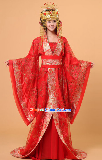 Long Tail Ancient Chinese Red Wedding Film and Video Princess Garment and Headwear