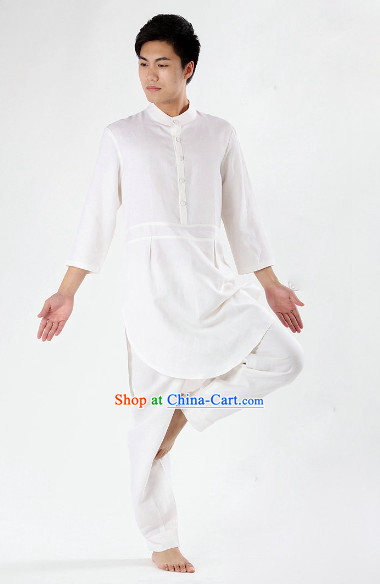White Top Comfortable Meditation Yoga Tea-making Kung Fu Outfit